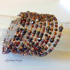 Memory Wire Bracelet,Copper Memory Wire Bracelet,Copper Seed Bead Cuff Bracelet,Hematite Teardrop Boho Bracelet,Seed Bead Hippie Bracelet