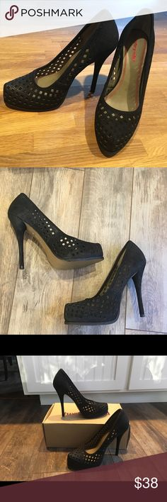 "Awesome heels Luxury Rebel Sakura 3 platform heel.  Black with 5"" heel.  Leather and fabric perforated upper with decorative stitching and quilting.  NWB.  Size is 39. Luxury Rebel Shoes Platforms"