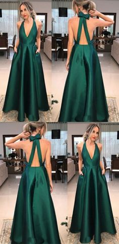 simple dark green v neck prom dresses with pockets, modest open back party dresses, fashion a line long evening gowns #promdress #partydress #greendress #dresses#style#borntowear