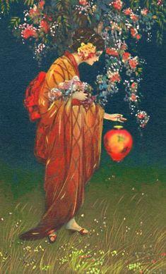 ☂ Paper Lanterns and Parasols ☂ Japonisme Art and Illustration - vintage image