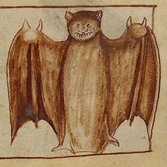 To celebrate #batmanday enjoy this 13th c. Caped Crusader! . A Nightingale; Bats (detail), about 1250 - 1260, English. Pen-and-ink drawings tinted with body color and translucent washes on parchment. #batman #batmanday #manuscripts