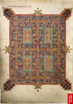 Created between 698 and 715, c.210v, a cross-carpet page, Lindisfarne Gospels, British Library, London, England