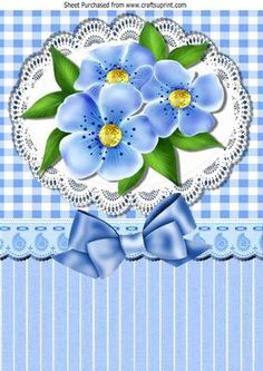 Gingham Lace with pretty blue flowers bow A4 on Craftsuprint - Add To Basket!