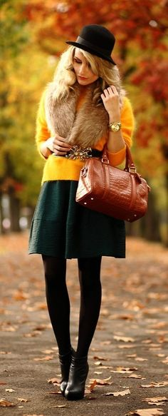 Quite cute, Quite daring outfit - Bold yellow-gold sweater, forest green skirt, fur & leather, with black basics