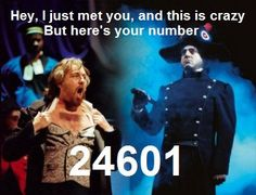 I usually take theater seriously, but I couldn't pass this up. And, if I'm not mistaken, that is John Owen Jones as Valjean! Theatre Geek, Musical Theatre, Les Mis Funny, John Owen, Call Me Maybe, Broken Leg, Sound Of Music, Movie Quotes, I Laughed