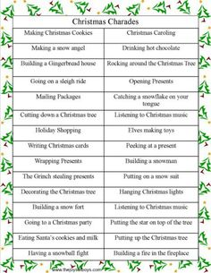 Christmas Charades is a fun family Christmas party game that kids and adults will love. Make some new memories with your family with Christmas charades! Family Christmas Party Games, Christmas Friends, Xmas Games, Holiday Games, Xmas Party, Christmas Music, Christmas Carol, Winter Christmas, Christmas Ideas