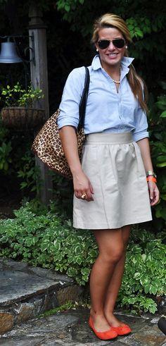 ~sooo adorable~oxford shirt, khaki skirt, leopard bag, coral shoes~love~