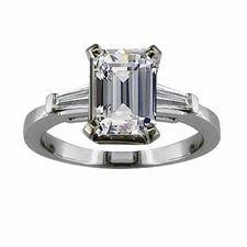 Sex and the City for Charlotte Emerald Step Cut Cubic Zirconia Baguette Solitaire Engagement Ring by Ziamond. #ziamond #cubiczirconia #emeraldstepcut #14kgold