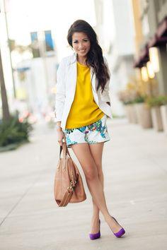 Color Burst :: Botanical shorts & Sunshine yellow : Wendy's Lookbook
