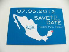 Save the date postcard for destination wedding.