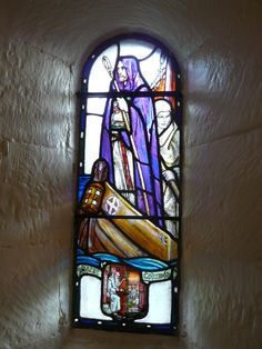 St Columba, depicted in stained glass in St Margaret's Chapel, Edinburgh Castle. St Margaret Of Scotland, Mosaic Glass, Glass Art, Edinburgh Castle, Edinburgh Scotland, Castle Scotland, St Columba, Scotland Road Trip, Stained Glass Windows