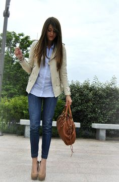 Blue shirt, tan jacket and shoes