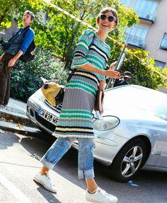 Jo Ellison in a Céline dress with Adidas shoes