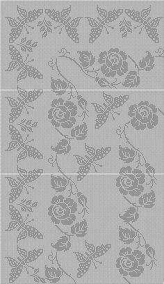 Filet Crochet Charts, Crochet Stitches, Crochet Table Runner, Crochet Tablecloth, Crochet Butterfly, Crochet Lace, Cross Stitch Borders, Cross Stitching, Crochet Tutorials