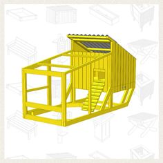 Build a Chicken Coop - Free Project Plan:  Building a Chicken Coop is an ambitious project, but one that is incredibly rewarding. This coop is a deluxe home for chickens with a footprint that's perfect for small and urban backyards.