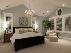 Looks similar to our bedroom. The shutters look great. We were already thinking of putting them in the bathroom. #BeddingIdeasMaster