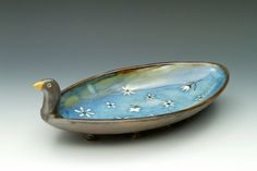 """Bird Bowl Approx. 12"""" x 6"""" x 4"""" More details & images at http://www.monskycreations.com/index.php/hikashop-menu-for-categories-listing/product/113-bird-dish"""