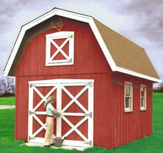 Classic 12 X 18-ft. Barn Shed With Storage Loft And Double Door - #1666 Plan