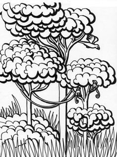 Forest, : Kid Drawing a Forest Coloring Page Online Coloring For Kids, Coloring Pages For Kids, Forest Coloring Pages, Drawing For Kids, Coloring Sheets, Folk, Drawings, Creative, Sky