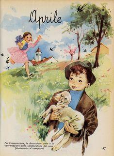 Retro Kids, Vintage Pictures, Vintage Images, Seasonal Image, Nature Collage, Vintage School, Months In A Year, Seasons Months, Vintage Easter