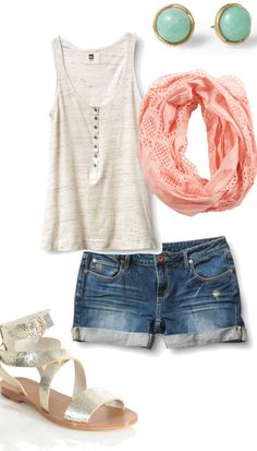 summer outfits ! Longer shorts would be necessary but still cute!