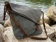 Canvastaschen - Nordlicht Canvas Schultertasche (Grau) - ein Designerstück von NordlichtBags bei DaWanda