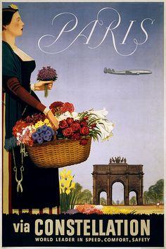 Paris via Constellation 1950 ... vintage poster