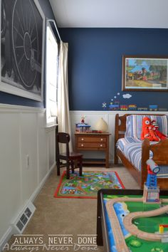 Boys train bedroom done thrifty style.
