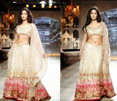 Katrina kaif looking awesome in bridal lehenga-choli which is designed by Indian famous fashion designer Manish Malhotra. She walked the ramp at Delhi Cout