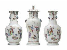 A very large three-piece famille rose garniture, Qianlong period.