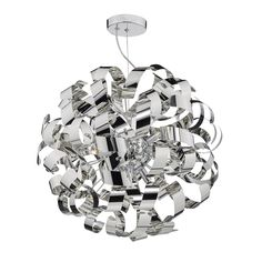 RAW1355- Rawley 9 Light Pendant Polished Chrome  > Polished Chrome Metal Twisted Ribbons > Earthed > Polished Chrome Height- 65cm Minimum Height- 65cm Maximum Height- 150cm Diameter- 65cm BRAND- Dar REFERENCE- RAW1355 DISPATCH- 3-5 Days (subject to availability)