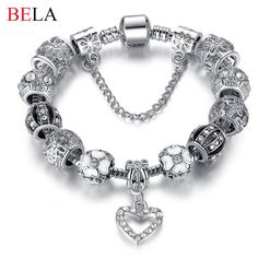 2015 High Quality Charms Beads fit Original bracelet Silver Plated Crystal Beads Fashion Bracelets & Bangles for Women PS3145