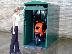 Motorbike Shed, Motorcycle Storage Shed, Motorcycle Garage, Motorcycle Shed Ideas, Motorcycle Touring, Shed Storage, Garage Storage, Scooter Garage, Motorcycle Cover