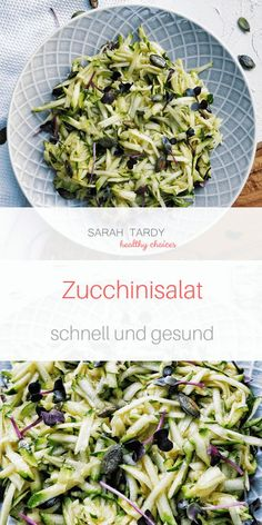 Light and quick zucchini salad - sarah tardy - Internationale Salat Rezepte - Raw Food Recipes Detox Recipes, Raw Food Recipes, Veggie Recipes, Salad Recipes, Vegetarian Recipes, Healthy Recipes, Salad Works, Food Intolerance, Cauliflower Recipes