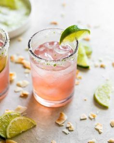 A refreshingly sweet margarita made with guava nectar, coconut water, fresh lime juice, tequila, agave + a coconut lime salted rim. No margarita mixes here! Coconut Margarita, Guava Juice, Margarita Mix, Margarita Recipes, Guava Cocktail Recipes, Pineapple Juice, Guava Recipes, Coconut Recipes, Margaritas