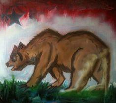 painting california bear | California Bear Flag Painting by Jesse Jesusson