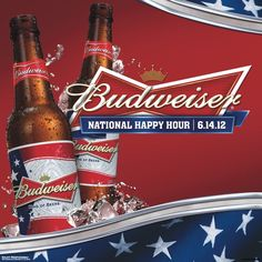 BEER LOVERS it's #Budweiser National Happy Hour! So make sure to grab an ice cold Bud today!
