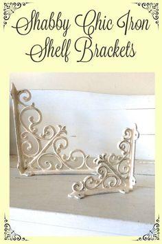 Shabby Chic Iron Shelf Brackets. Beautiful French Country Decor.  #frenchcountry #shabbychic #shabby #rusticdecor #farmhouse #farmhousestyle #home #homestyle #homedecor #etsy #etsyfinds #affiliatelink