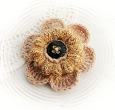 Hand Crochet Flower Applique Brooch - Beige Fluffy Autumn Flower in Crafts, Needlecrafts & Yarn, Crocheting & Knitting | eBay!