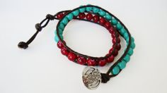 Turquoise & Red Bead Leather Wrap Bracelet by Lilac & Buttercup, $22.00 #handmade #jewelry