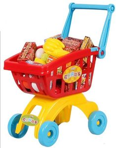 Big Dragonfly High Quality Fun Childrenfs Deluxe Shopping Cart Kits with Handle and Play Food and Fruits Best Pretend and Play Toys for Kids Red/Blue *** Visit the image link more details.