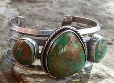 Sterling Silver Cuff with Royston Cabochons