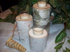 "4"" 6"" 8"" set of 3 Birch Glass Votive Light set, Rustic Natural Birch Logs. Wedding table decor, Candle centerpiece on Etsy, $25.00"