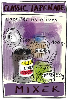 La tapenade selon Tambouille Ketchup, Desert Salads, Kitchen Time, English Food, Food Journal, Appetizer Dips, French Food, Food Illustrations, Easy Cooking
