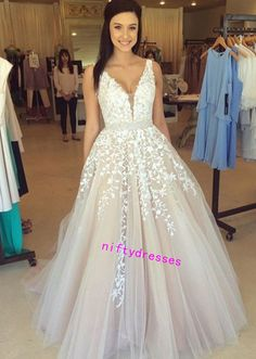LJ5 New Arrival White Prom Dress,Charming Prom Dress,Appliques