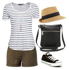 """""""Sightseeing outfit"""" by minmcd ❤ liked on Polyvore featuring Eric Javits, rag & bone, M&Co and Converse"""