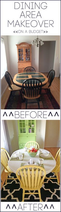 Dining area makeover ON A BUDGET! See how I got a whole new look for less than it would have cost to buy a new table! #roommakeover #dining #refashiononabudget