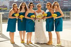 Loving this color scheme: blue bridesmaid dresses with accessories in bright pops of yellow!