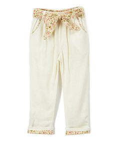 This White Floral Paper Linen-Blend Bag Pants - Toddler & Girls is perfect! #zulilyfinds