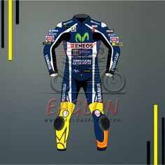 Description Valentino Rossi Yamaha Movistar Motogp 2016 Leather Suit is designed for professional bikers to show their love toward him and YamahaBike on the track. This suit is made of Cowhide leather with thickness of 1.2-1.3 mm and Schoeller Kevlar Fabric for complete safety and comfort of rider. There is certified carbon inserted external protections …